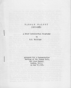 Harold Walsby A Brief Intellectual Biography by P. J. Rollings